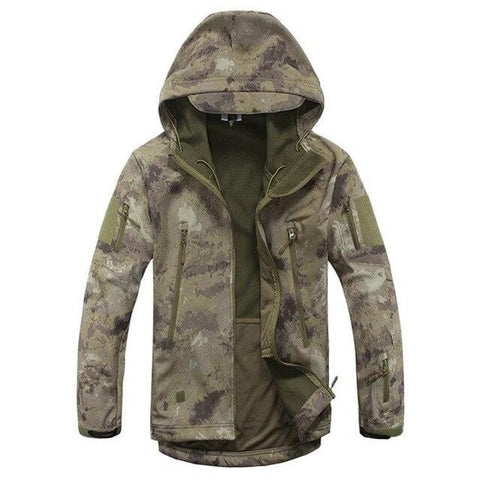 Outdoor Soft Shell Tactical Military Jacket Men Waterproof Fleece Coat Army Camouflage Windbreaker Camping Hiking Hooded Jacket