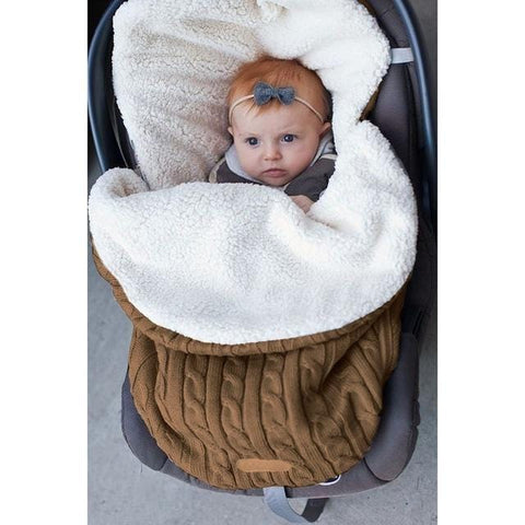 Winter Knitted Thicken Sleeping Swaddle Baby Toddler Solid Warm Stroller Newborns Sleeping Bag Soft Envelope for Newborns