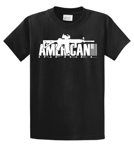 INFIDEL T SHIRT AR-15  MILITARY USA  TAN MARINES  AR15 Tee shirt