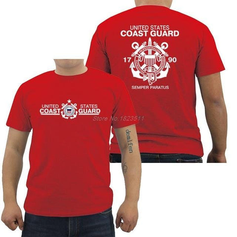 New Fashion Men Cotton T Shirt United States Coast Guard Uscg Military Navy T-Shirt Hip Hop Tees Tops Harajuku Streetwear