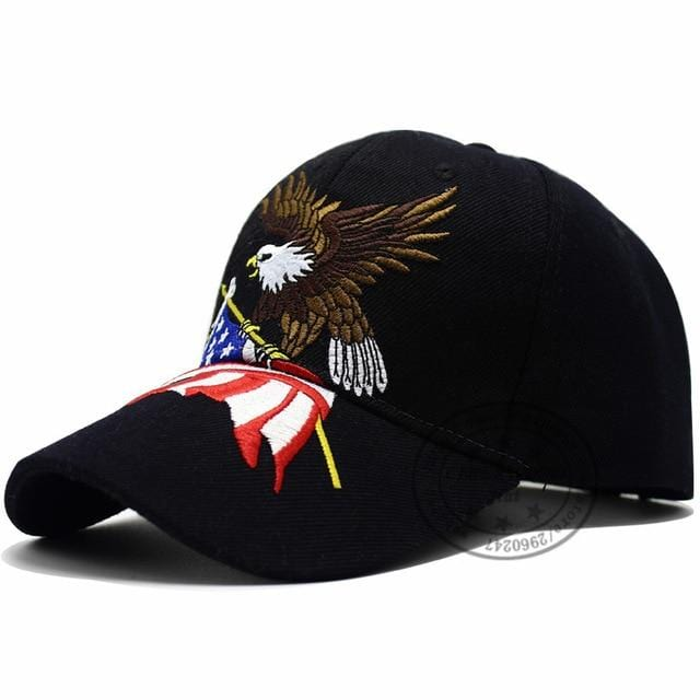 Patriotic American Eagle and American Flag Baseball Cap USA Bald Eagle 3D  Embroidery Snapback Hats Men Cap