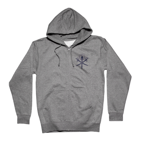 Crossed Swords Grey Zip Hooded Sweatshirt