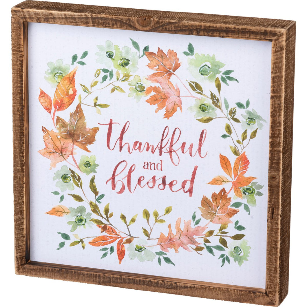 Inset Box Sign - Thankful And Blessed