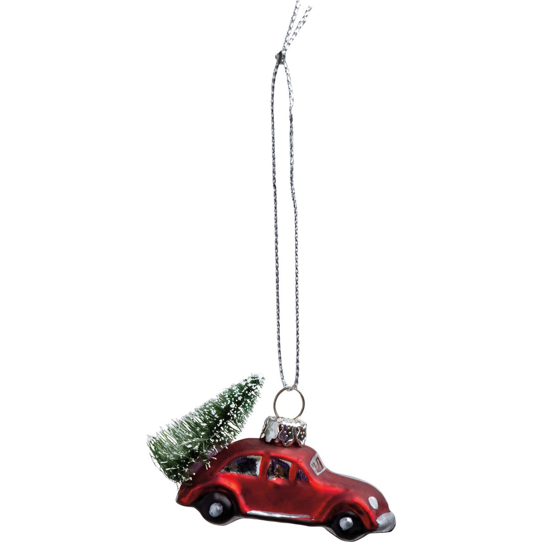 Glass Ornament - Red Car Tree
