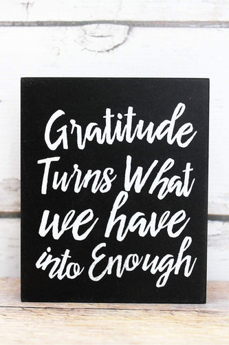 'Gratitude' Black Wood Block Sign