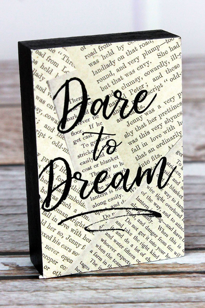 'Dare To Dream' Wood Mini Block Sign