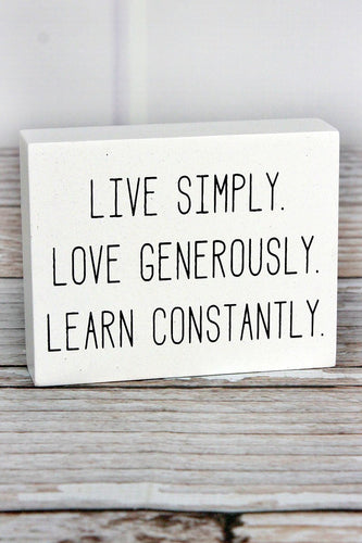 Live Simply' Wood Block Sign