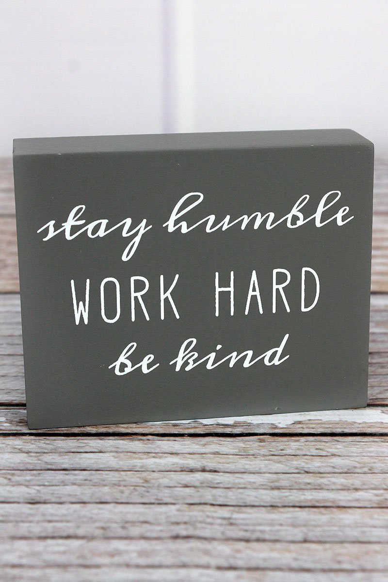 Work Hard' Wood Block Sign