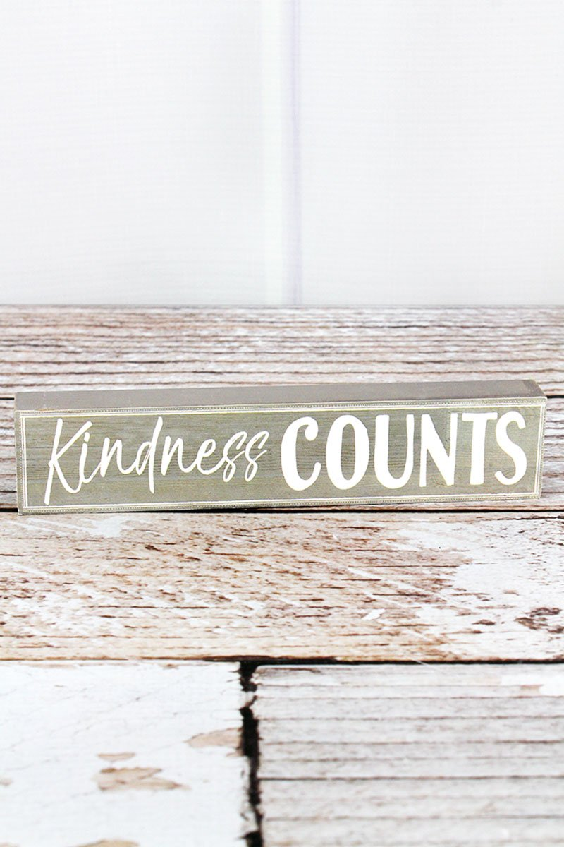 Kindness Counts Wood Block Sign