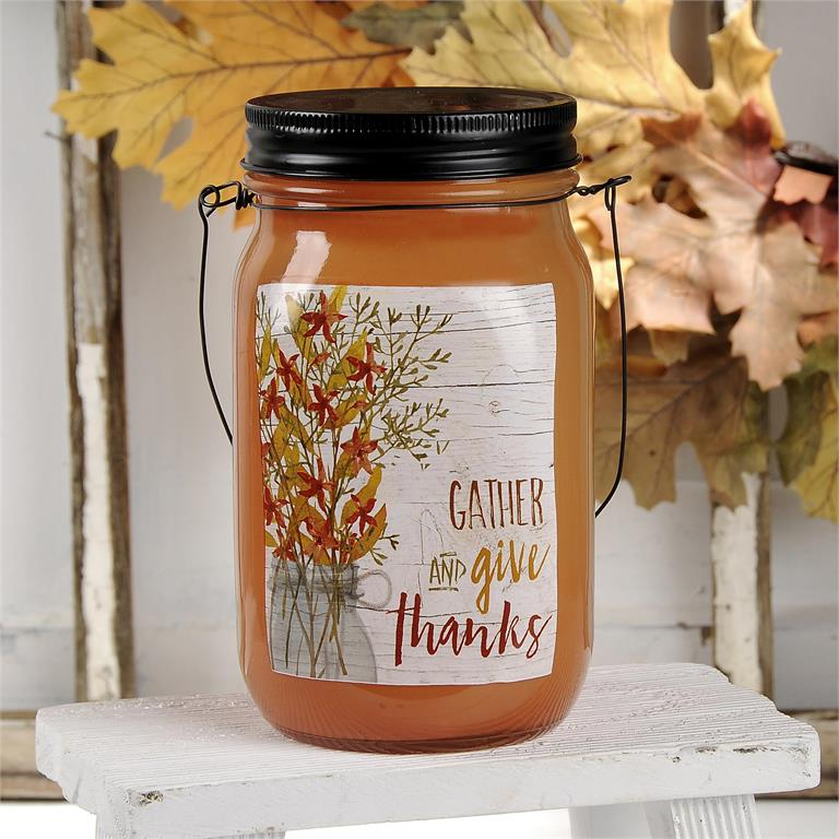 Gather and Give Thanks Jar with Lights