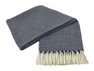 Cotton Hand Woven Blue & White Throw