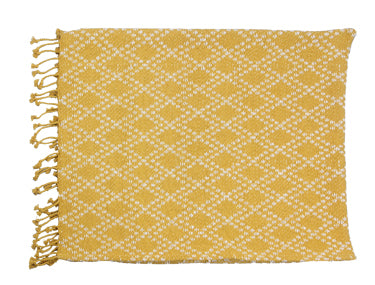 Cotton Hand Woven Throw with Tassels, Gold