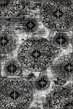 Load image into Gallery viewer, Black Floral Rug 5x8