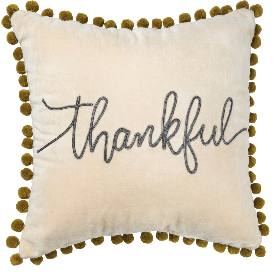 Pillow- Thankful with Poms