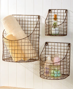 Rustic Farmhouse Wall Basket -Large