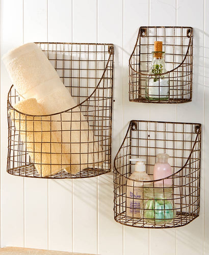 Rustic Farmhouse Wall Basket -Medium