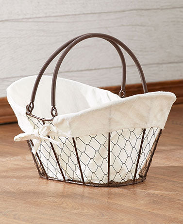 Chicken Wire Storage Basket with Liner