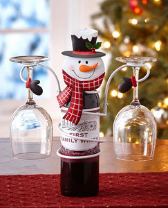 Holiday Wine Bottle & Glass Holder - Snowman