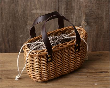 Oval Basket with Drawstring Pouch Inside