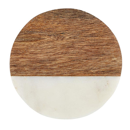 Wood and Marble Coaster - Round