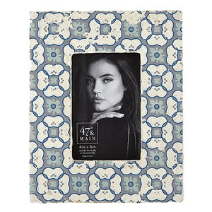 Ceramic Photo Frame Blue Floral