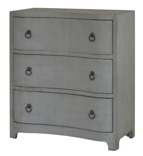 3 Curved Drawer Brushed Grey Linen Finish Chest