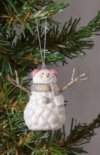 Snowman Ornament with Scarf Grey