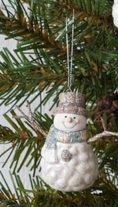 Snowman Ornament with Scarf Blue