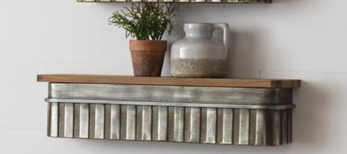 Metal and Wood Shelf Medium