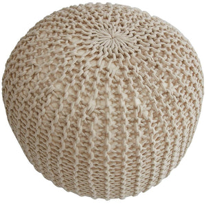 "18"" Chunky Hand-Knit Pouf Taupe"