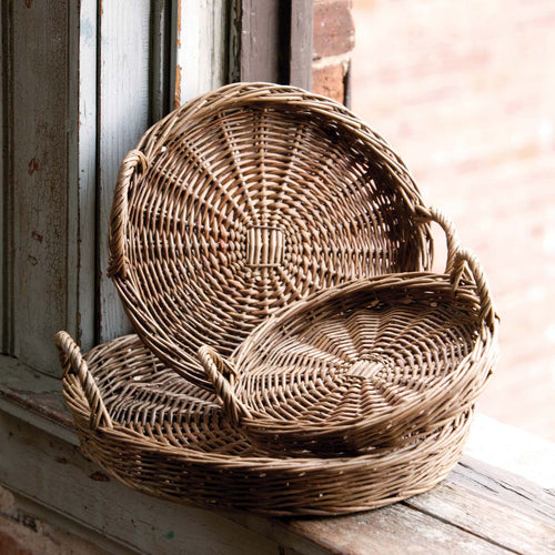 Round Willow Tray Large