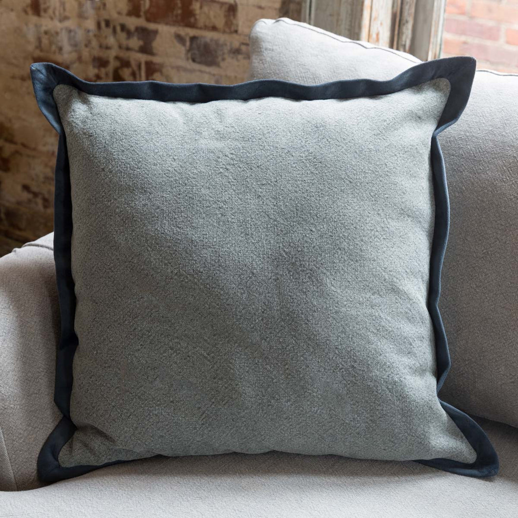 Blue Washed Cotton Throw Pillow with Velvet Flange