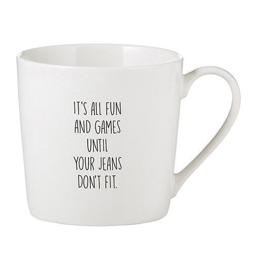Jeans Don't Fit Cafe Mug