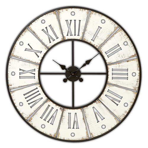 Wall Clock - Round, White Washed