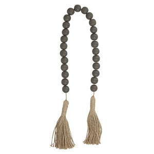 Wood Beads - Dark Charcoal with Jute