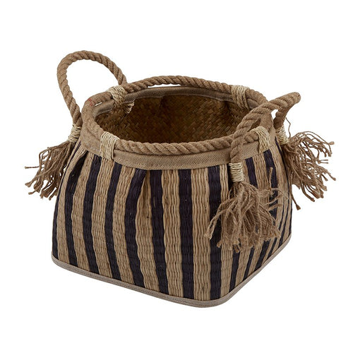 Natural Stripe Basket - Small