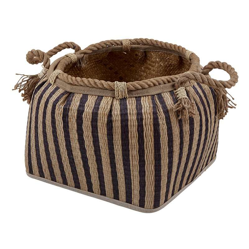 Natural Stripe Basket - Large