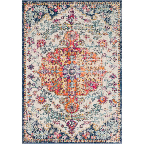 Oriental Orange/Navy Area Rug 4'x8'