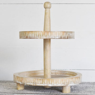 2 Tier Wood Washed Tray