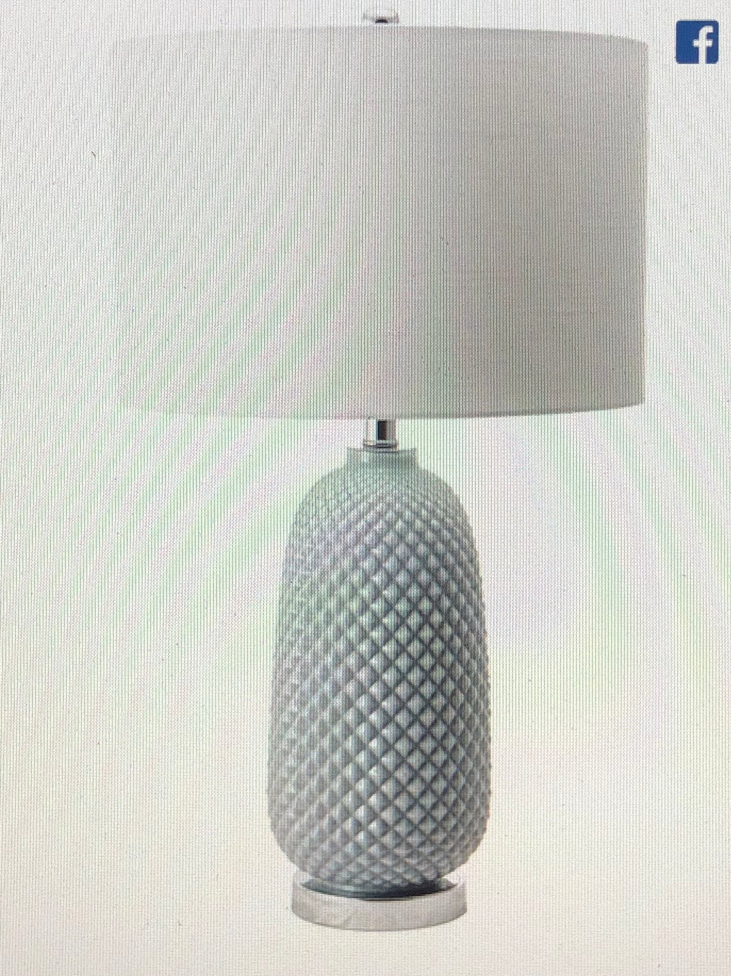 26-inch Glass Pineapple Textured Cotton Shade Table Lamp