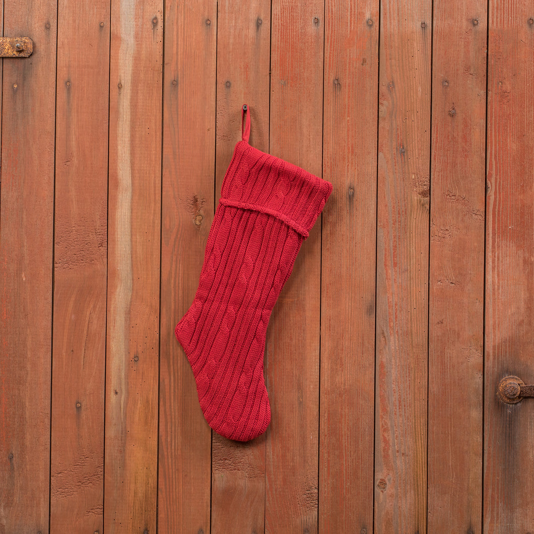 Cranberry Knit Stocking