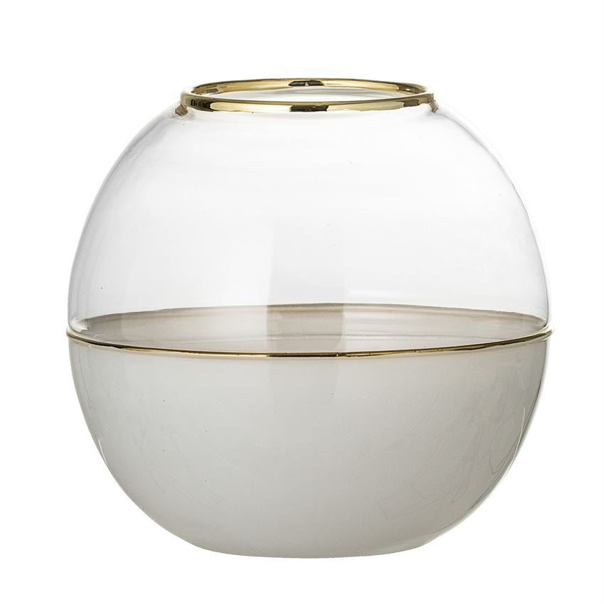 Glass Dome Vase, White w/ Gold Electroplating