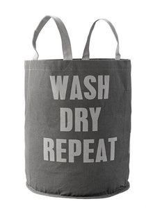 "Canvas Laundry Bag ""Wash Dry Repeat"""