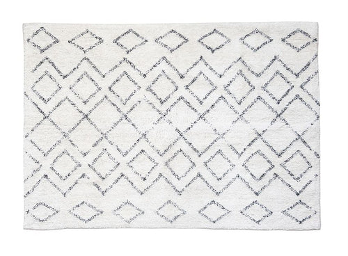 4' x 6' Cotton Shag Rug w/ Diamond Pattern, Cream & Black