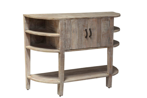 Mango Wood Narrow Demilune Console