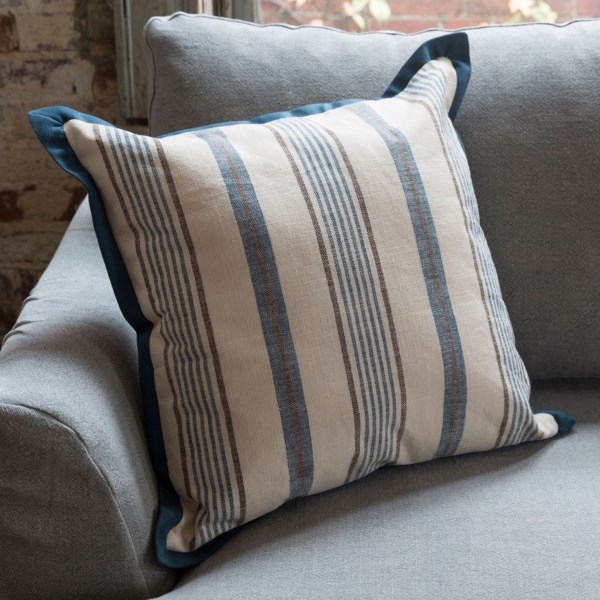 Blue Ticking Throw Pillow with Velvet Flange