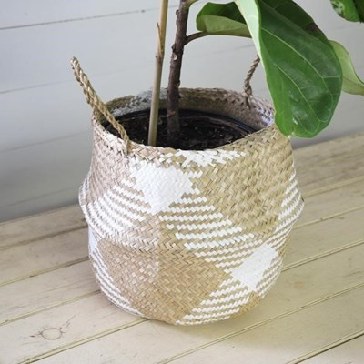 White Seagrass Bulge Basket