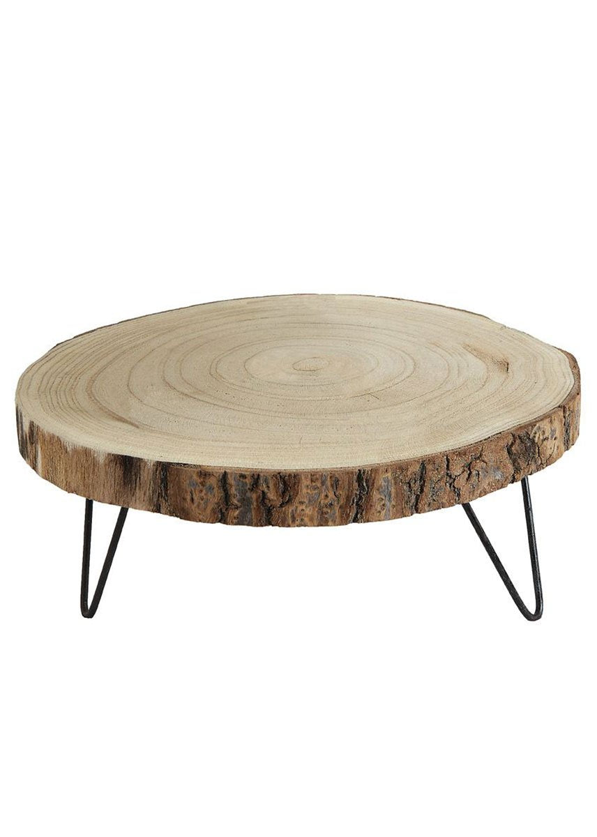 Natural Wood Slab Pedestal Tray Stand - 11