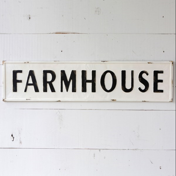 Metal Embossed Farmhouse Sign