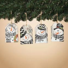 Load image into Gallery viewer, Wood Snowman Tag Ornament Various Styles